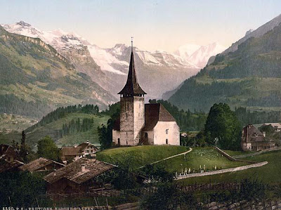 Frutigen, church and Alps, Bernese Oberland, Switzerland