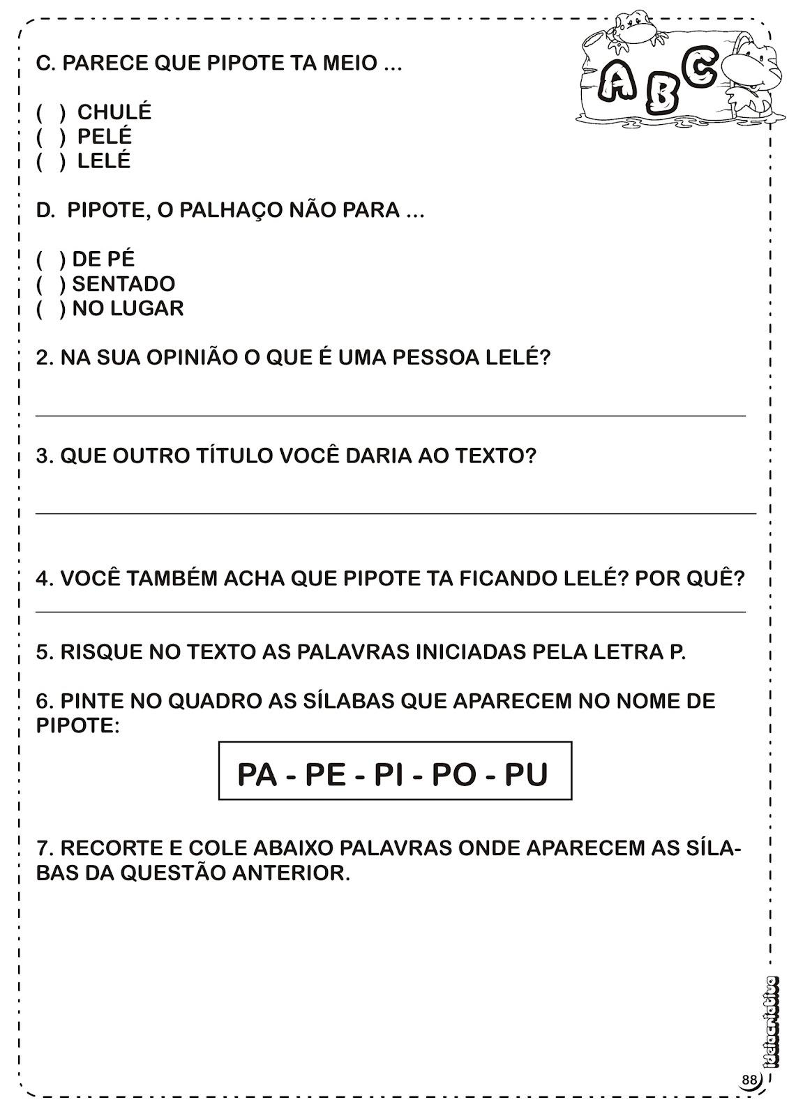 Atividade Texto e Interpretação Letra P