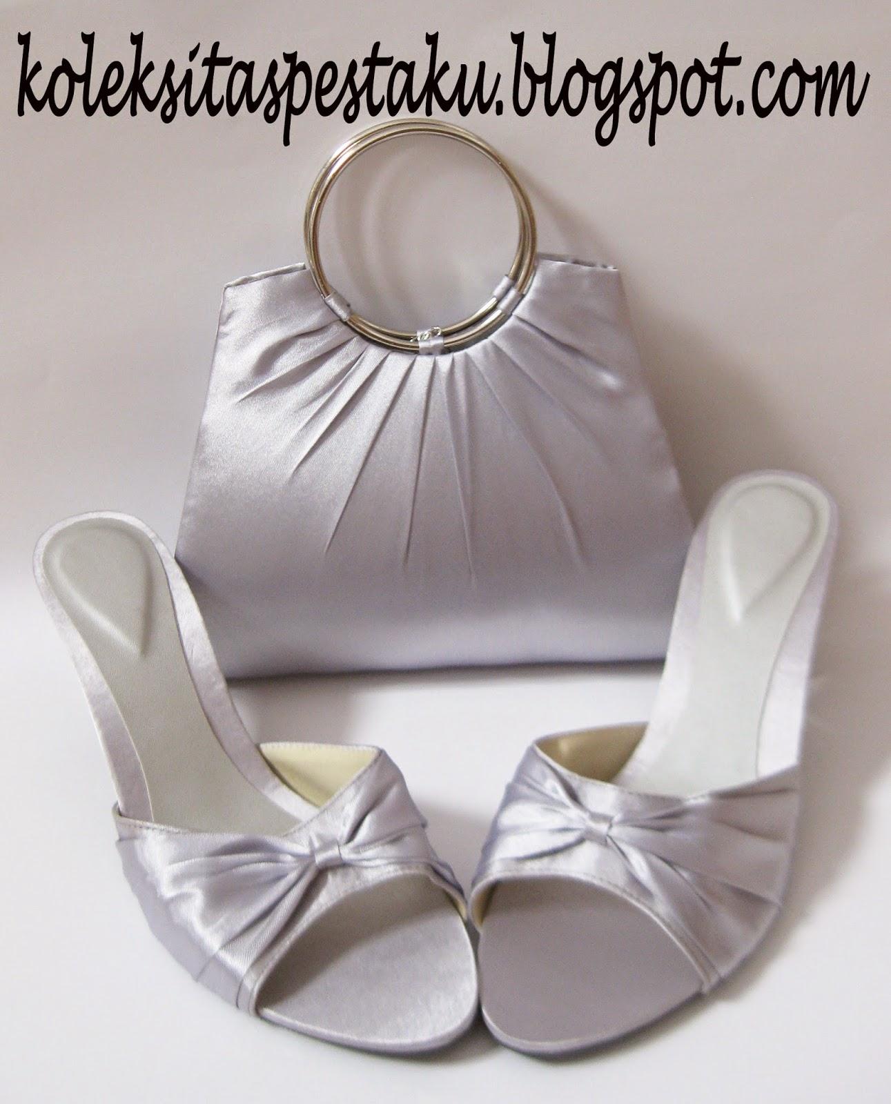 Sepatu Pesta Mewah dan Tas Pesta Mewah Silver Cocok BuatSeserahan Atau Hantaran