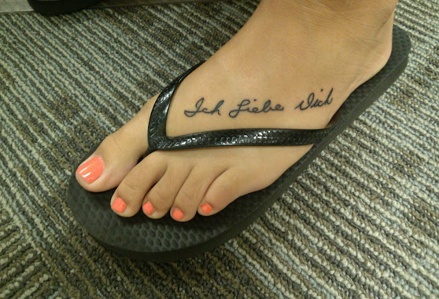 Foot Tattoo - Handwritten words in black ink