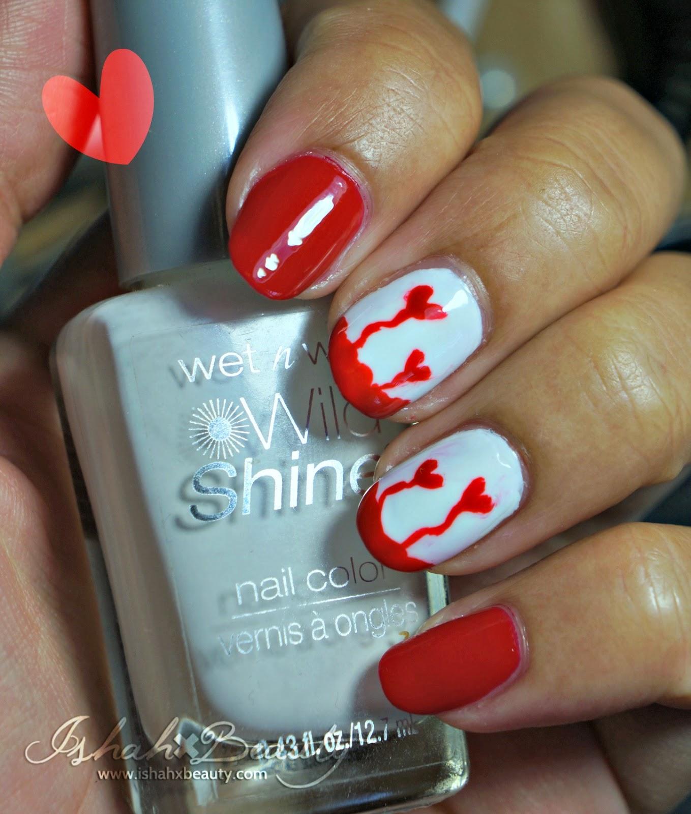 Ishah x Beauty: My Bloody Valentine Drip Heart Nail Art