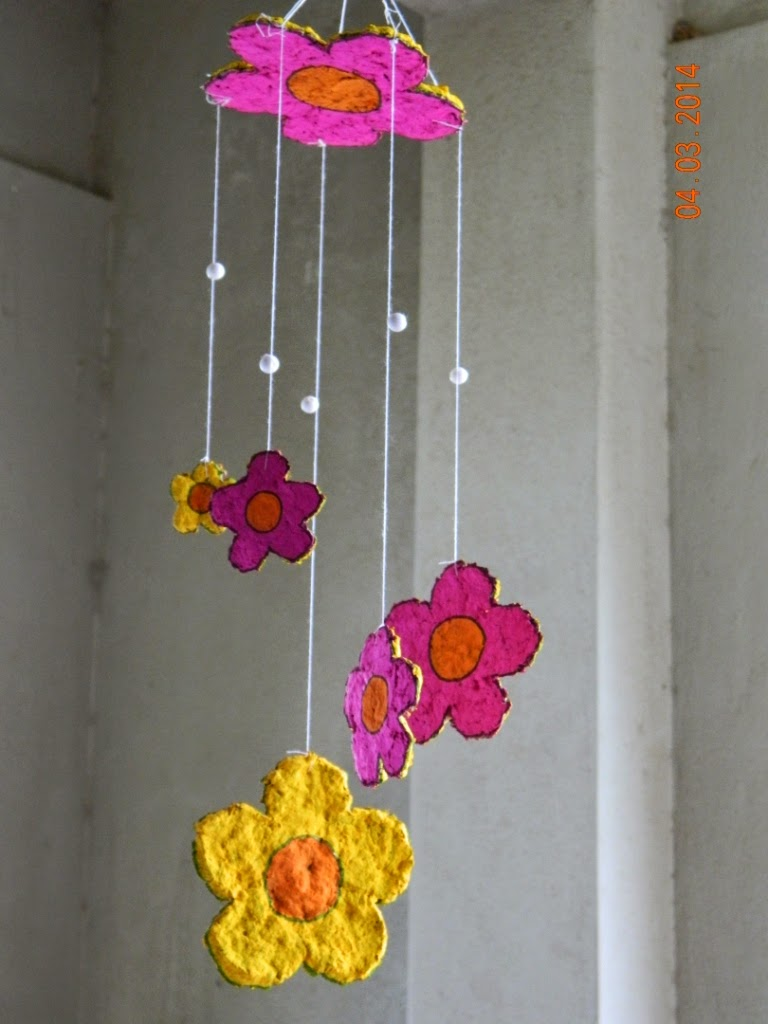 Paper mache wind chime yellow craft for Waste material craft work with paper