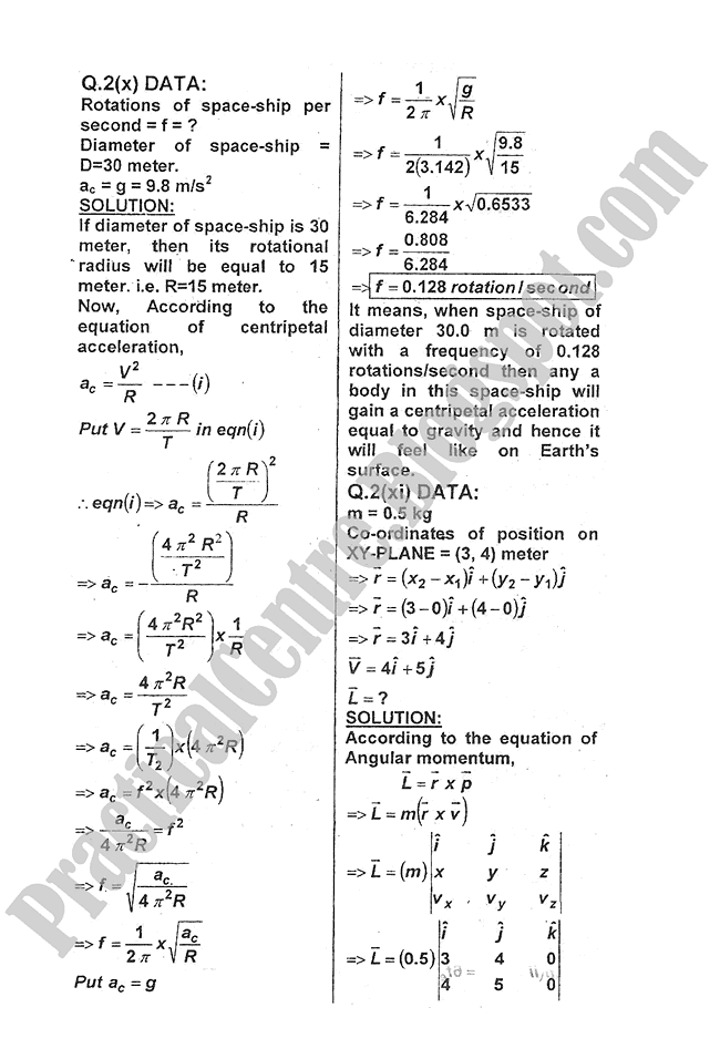 Physics-Numericals-Solve-2012-five-year-paper-class-XI