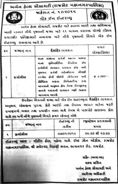 Urban Heath Society, Rajkot Pharmacist Recruitment 2016