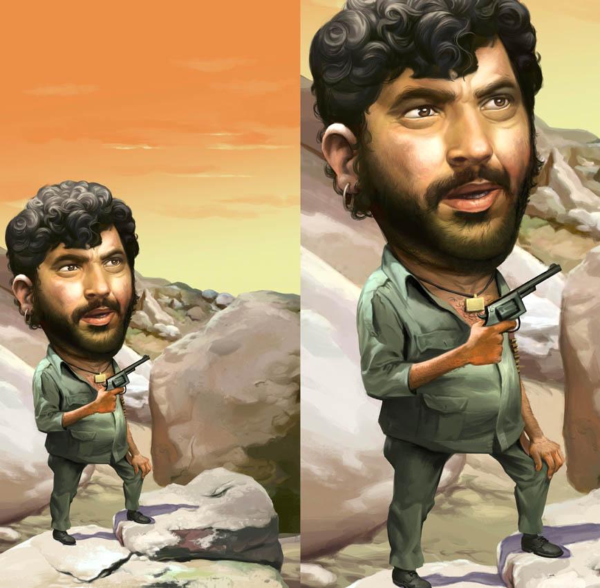 Free Comic Book Day Dubai: Vivek Shinde's Art: Gabbar Singh Illustration For Radio Mirchi
