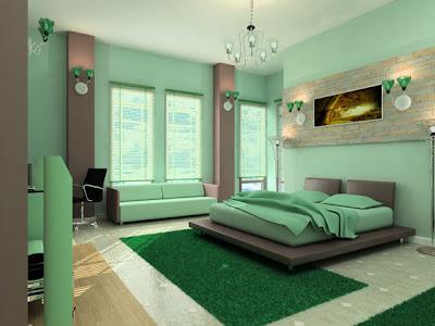 Camera da letto design moderno con colori naturali verdi