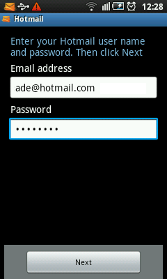 Android Hotmail Setup