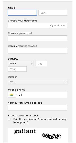 gmail account form