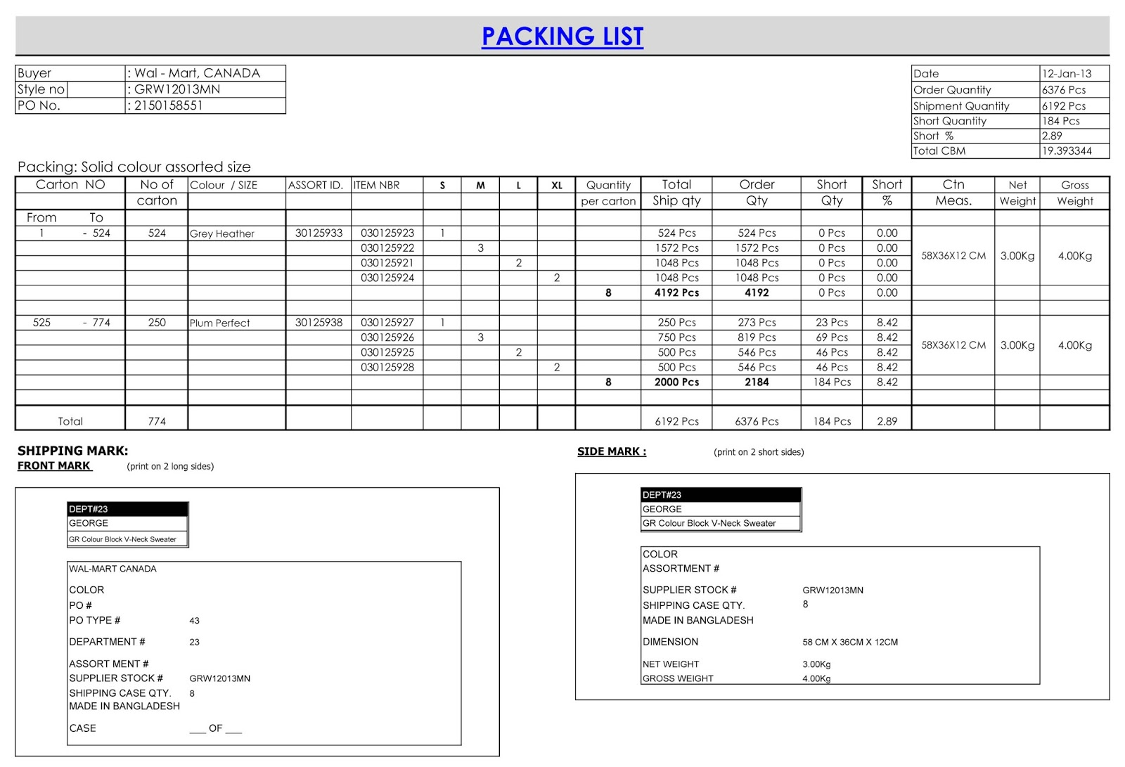 Sample Packing List 2  Packing List Sample