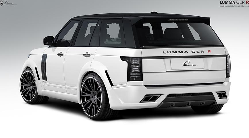 Белый Range Rover вид сзади