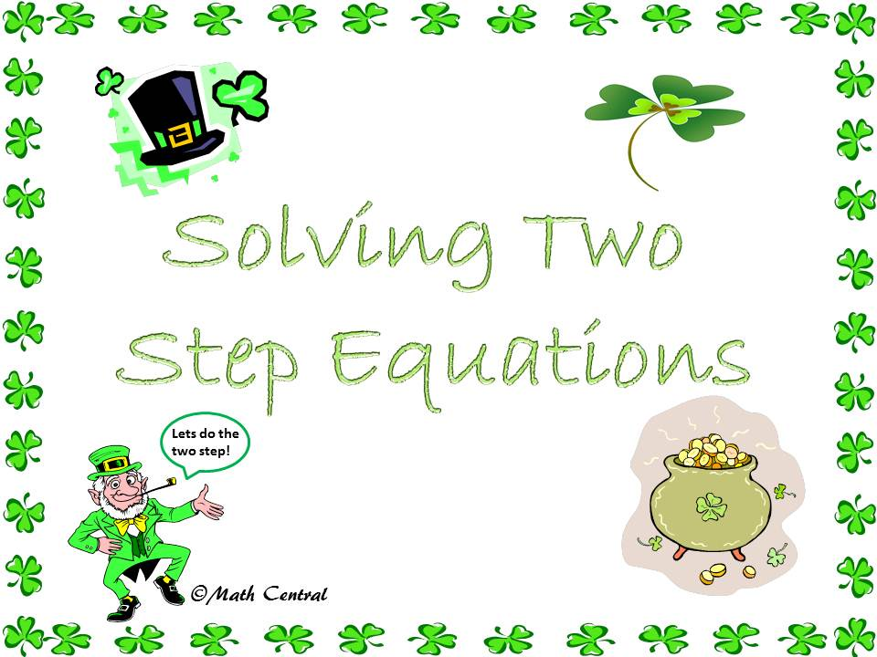 Math Central Solving TwoStep Equations – Math Worksheets Two Step Equations