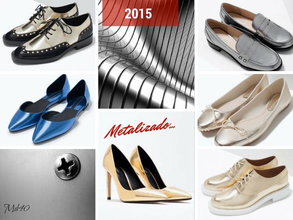 zapatos y sandalias primavera  verano 2015 tendencias metal