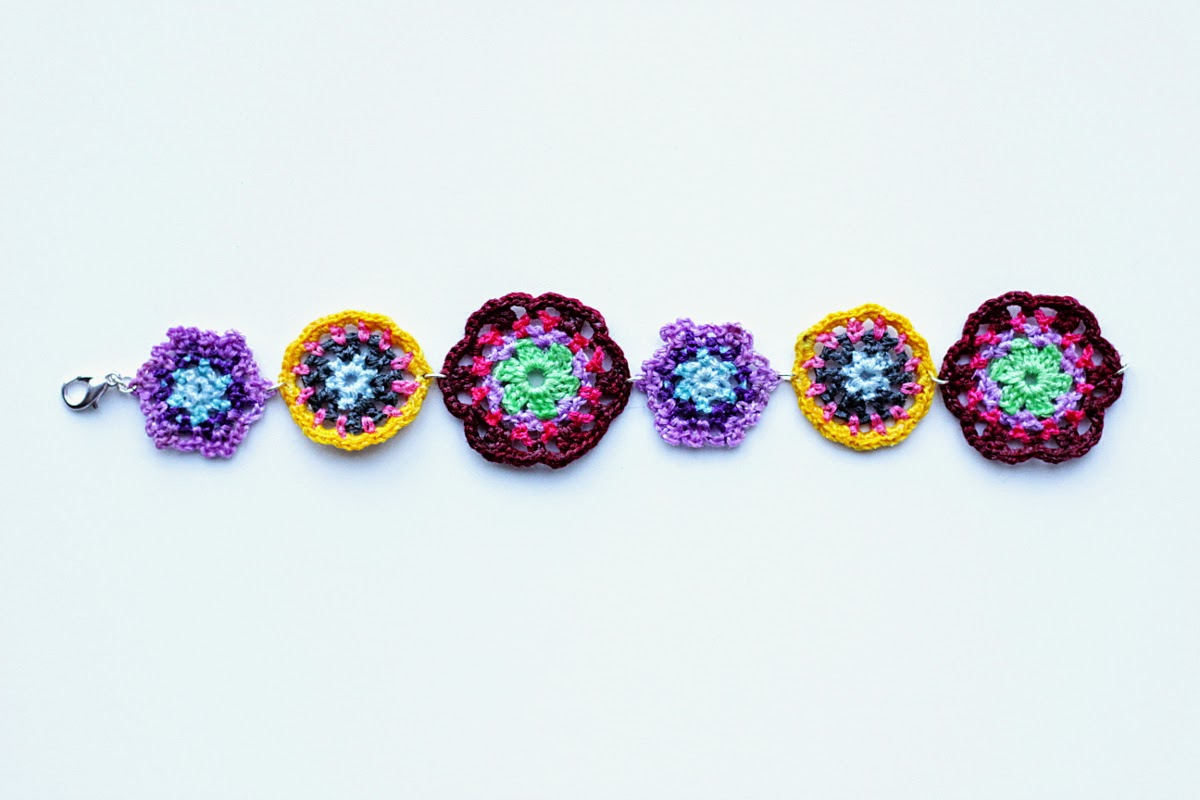 handmade floral crochet bracelet - buy this beautiful piece on Etsy