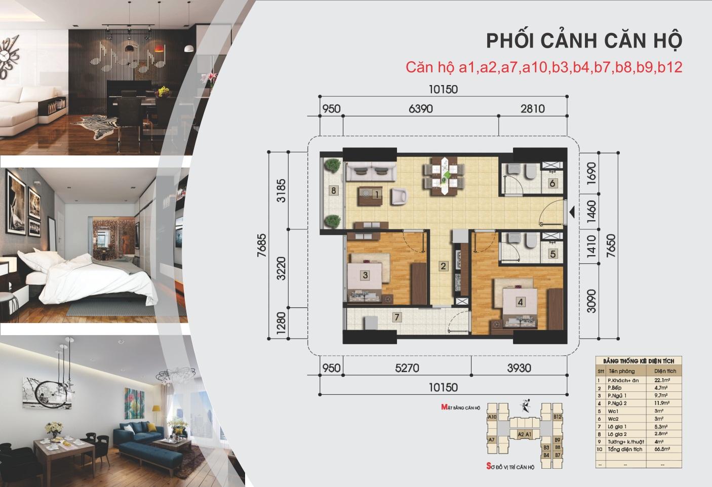Thiết kế căn hộ a1, a2, a7, a10, b3-b12 - Gemek Tower II