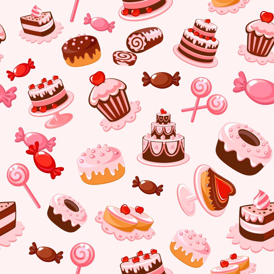 お菓子の背景 cartoon dessert background イラスト素材