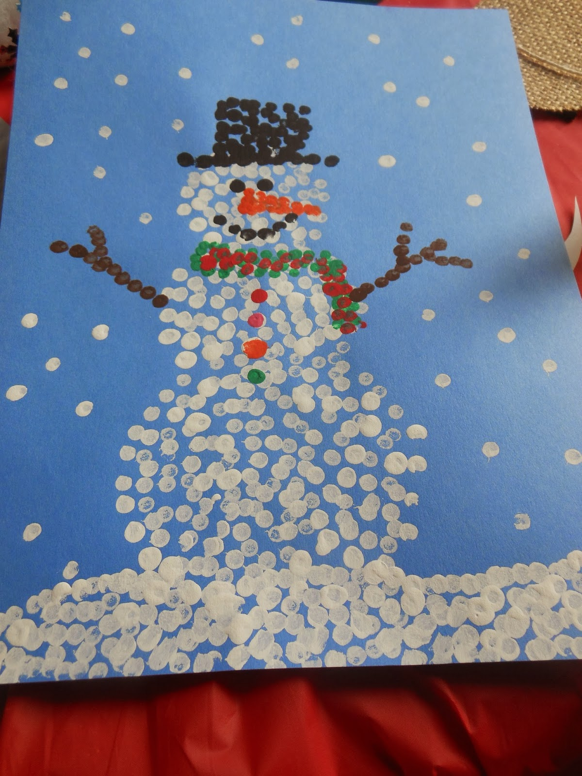 Snowman Crafts--Ornaments & Q-tips paintings