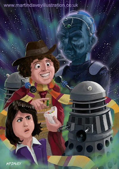 Dr Who 4th doctor Jelly Baby digital painting Artist Martin Davey