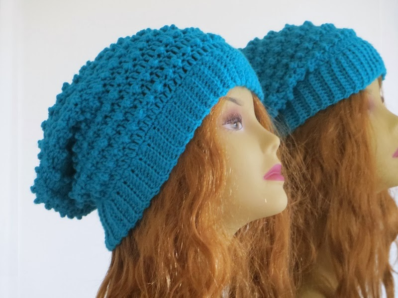 Crocheting Hats Patterns : Crochet Dreamz: Claudia Beanie, Crochet Slouchy Hat Pattern in Baby to ...