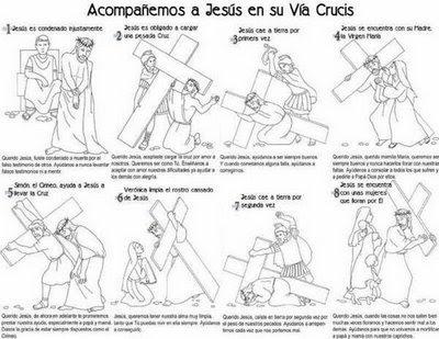 Dibujo de las primeras ocho estaciones del via crucis ~ Colorea el ...