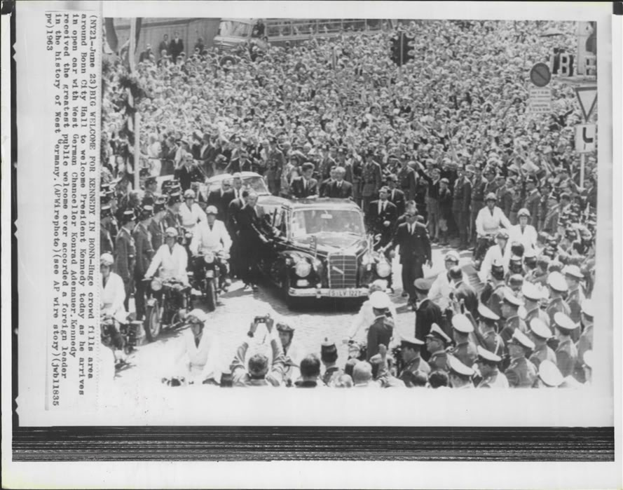 JUNE 1963: AGENTS SURROUND JFK'S LIMO