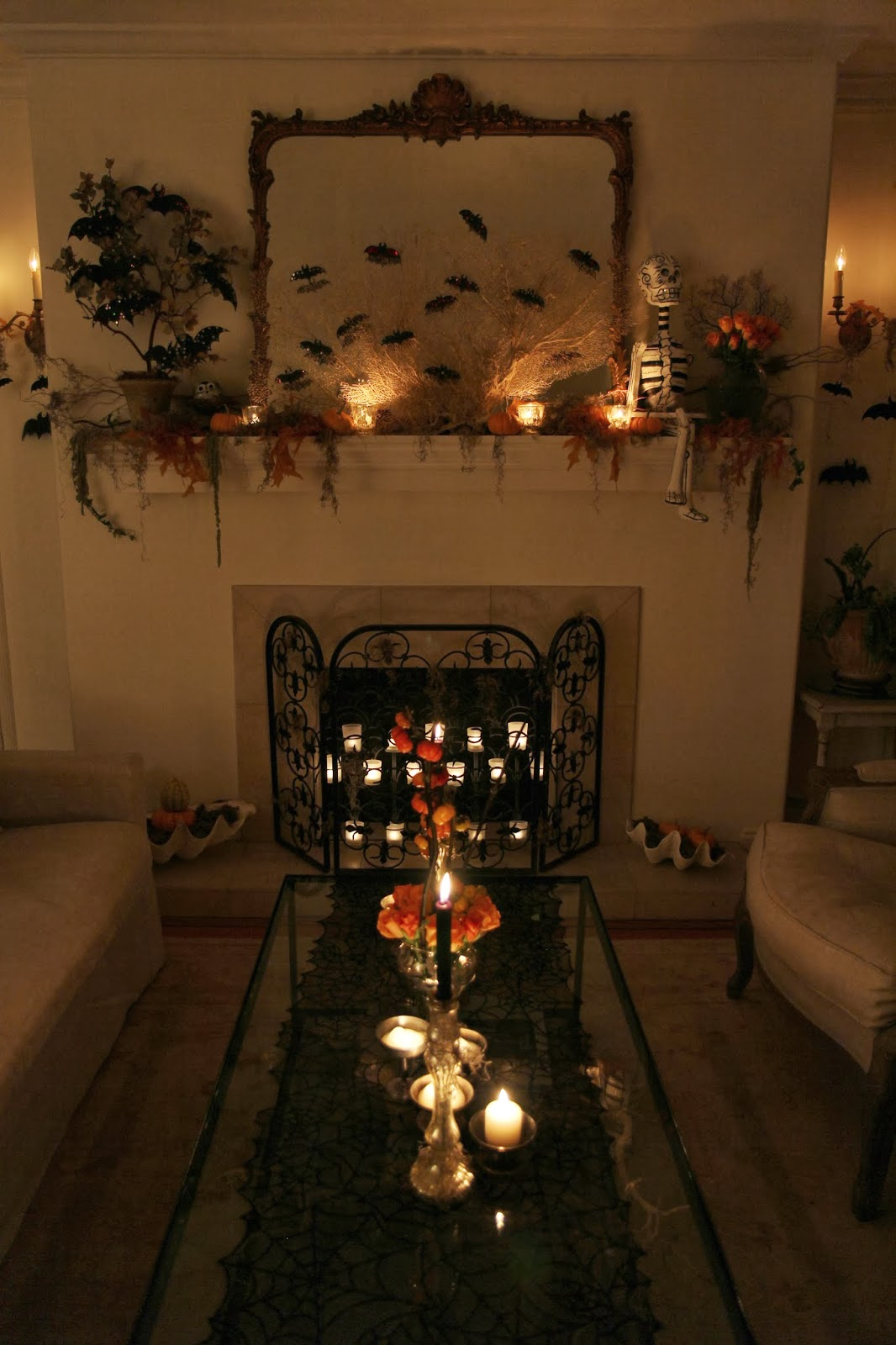 Spooky Glam Halloween Party - Living Room and Coffee Table