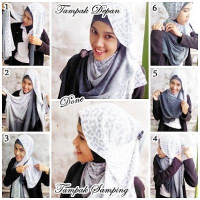 Cara Memakai Jilbab Shawl Chiffon Polkadot Style 2