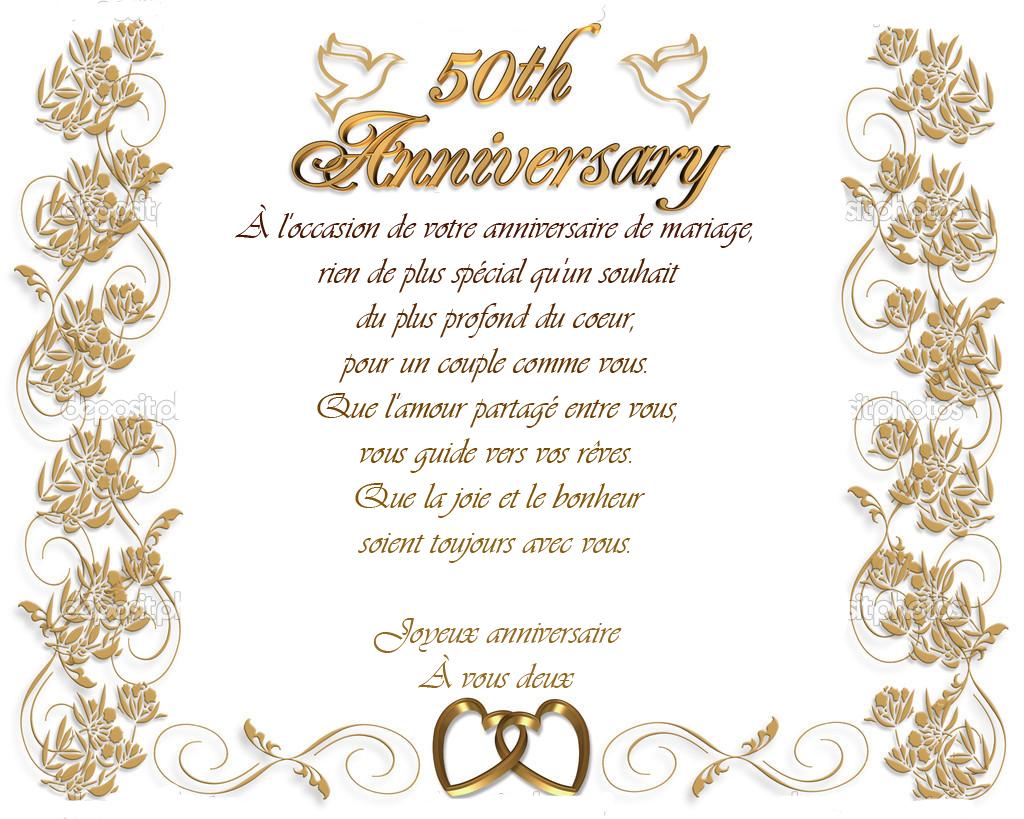 Modele invitation anniversaire de mariage 50 ans - Texte felicitation mariage humour ...