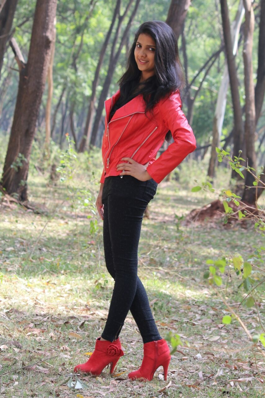 red leather jacket, ankle length booties, red boots, Indian fashion blogger, rock chic look, beautiful Indian girl, fall fashion