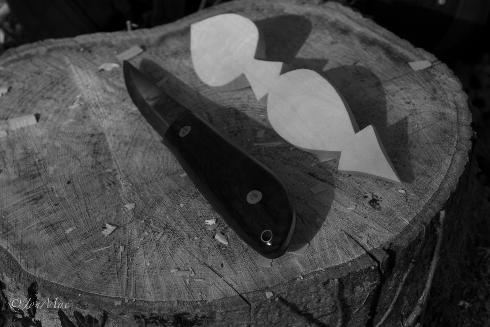 Bushcraft knife+MaChris bush craft knife+spoon carving blank