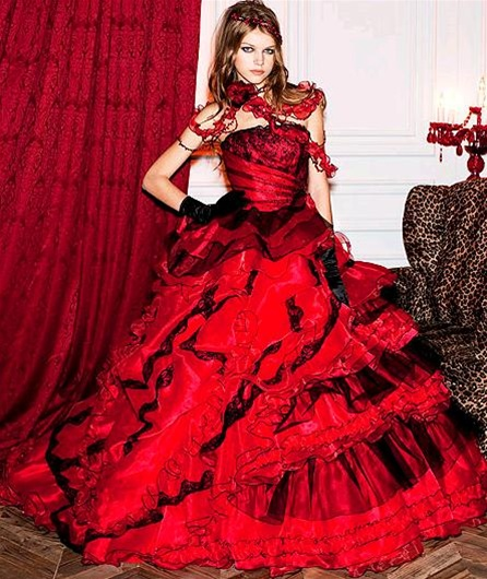 "Red Wedding Dresses: Colorful Wedding Dress Designs ""Rainbow Ideas"""