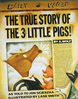 Newer version of The Three Little Pigs story, told by the wolf.