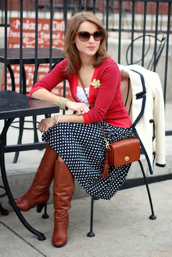 Red Color Blouse With Black Polka Skirt And Brown Boot