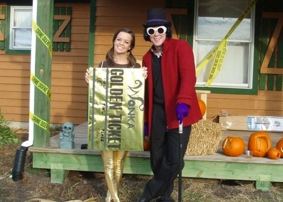 Willie Wonka and Golden Ticket Couple Halloween Costume