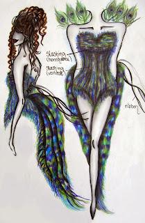 maniquí con cola de pavo real