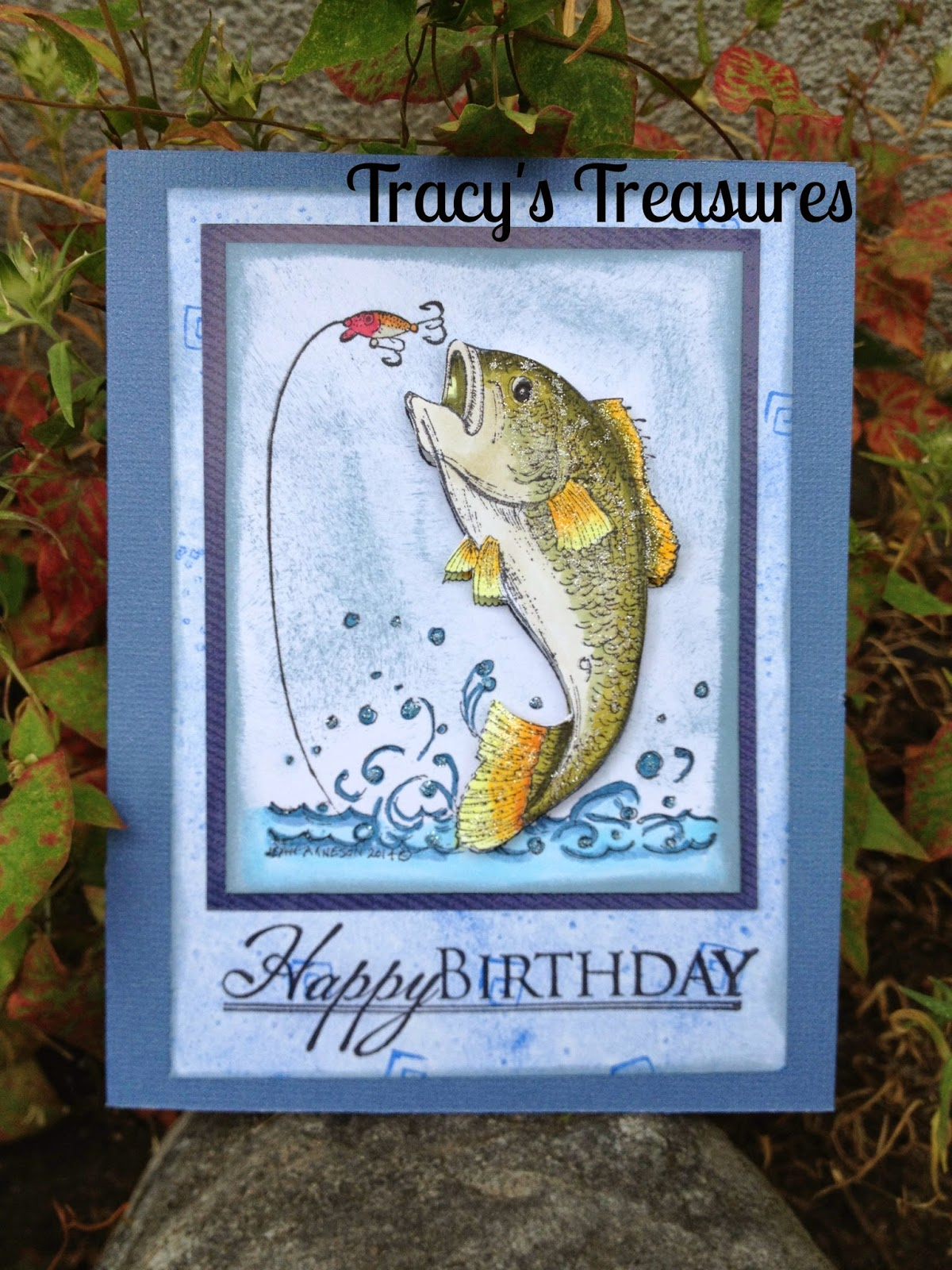 Tracys treasures the big catch birthday card for Fishing birthday cards