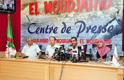 Conferencia sobre el derecho internacional humanitario y la agresión israelí contra Ghaza en el centro de prensa de El Moudjahid