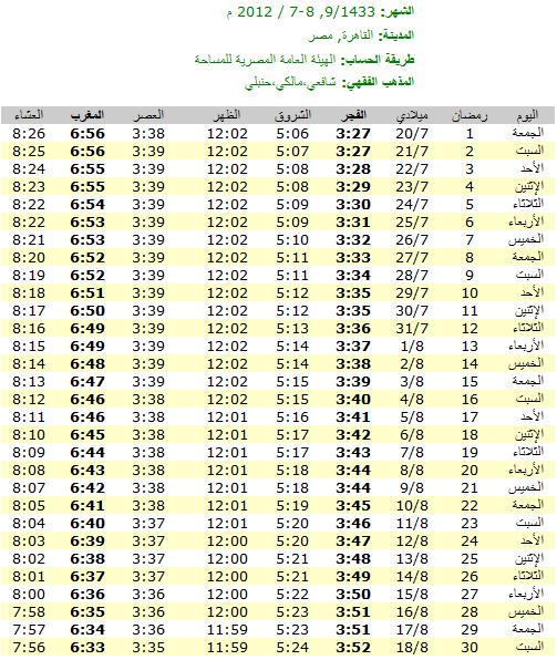إمساكية رمضان لعام 2012 الموافق  1433 بتوقيت مصر(القاهرة)
