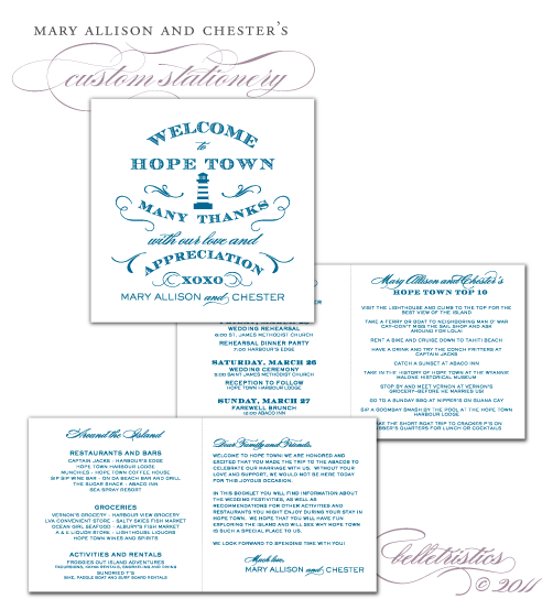 custom typography bahamas destination wedding guest welcome booklet