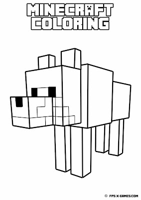 Printable Minecraft coloring - Tamed wolf