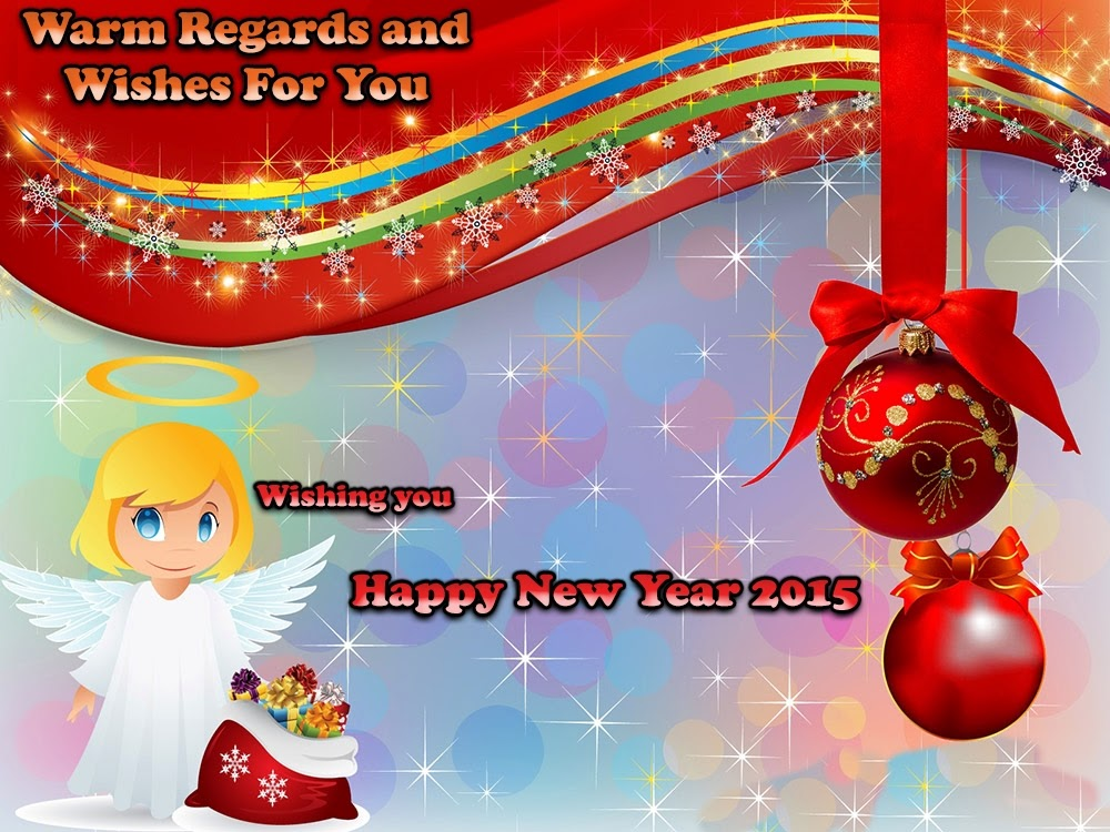 Lovely Angel New Year Wishes Greeting 2015 Cards