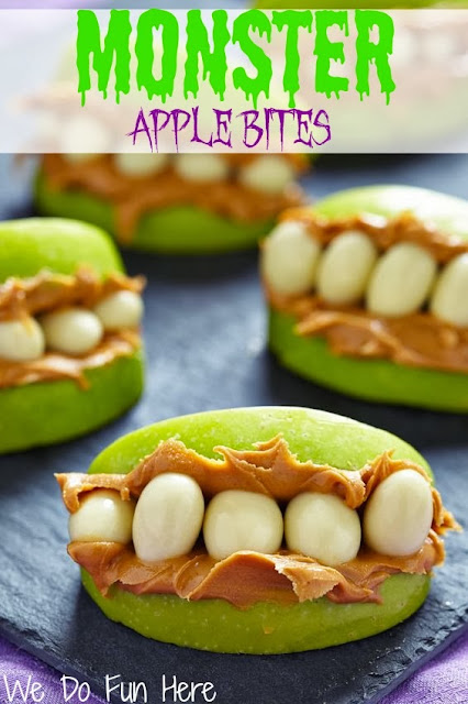 Healthy Halloween snakes monster apple bites