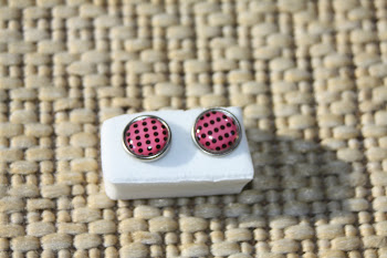 Pink with black dots, silver rimmed