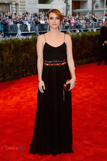 Emma Roberts Pictures in Black Long Dress at 2013 Met Gala in New York 0005