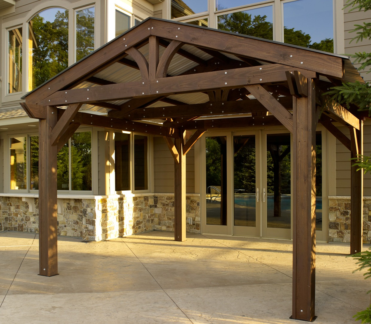 Extra shading enhanced homes - Pergola with roof ...