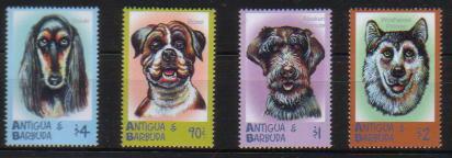 2000年アンティグア・バーブーダ サルーキ ボクサー ワイヤーヘアード・フォックス・テリア アラスカン・マラミュートの切手