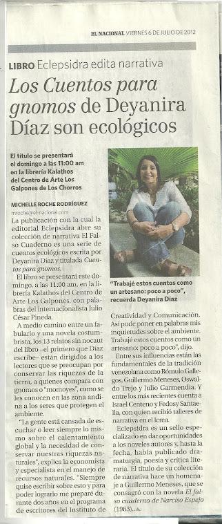Entrevista en el diario El Nacional