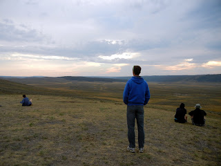 Watching for wildlife in Hayden Valley in Yellowstone National Park in Wyoming