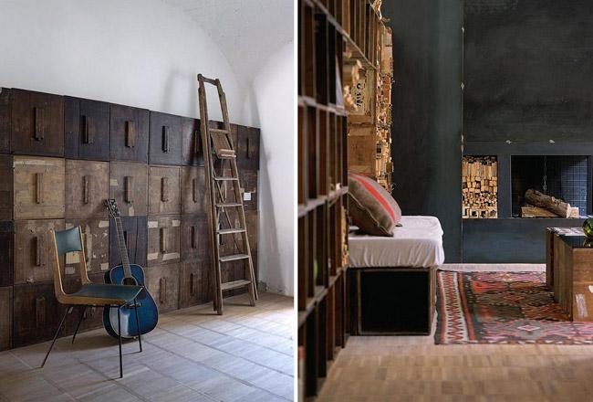 diseño interior en un loft con cajas de madera -sofa y armario