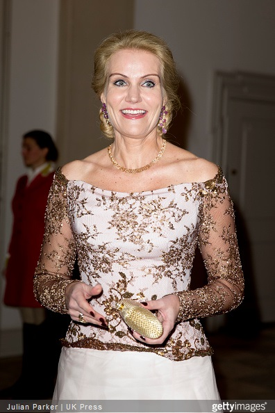 Danish Prime Minister Helle Thorning-Schmidt attends a Gala Dinner at Christiansborg Palace on the eve of The 75th Birthday of Queen Margrethe of Denmark