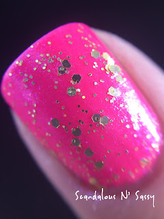 Fair Maiden Tickle Me Pink with Always Look for the Rainbow topper neon glitter holo macro